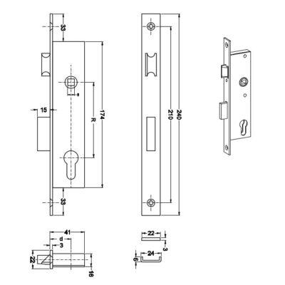 Zamek wąski LOB INOX wpuszczany do stolarki aluminiowej Z925B-2K1-20-00