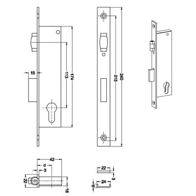 Zamek wąski rolkowy LOB INOX wpuszczany do stolarki aluminiowej Z025R